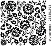 polish folk art black pattern   ... | Shutterstock .eps vector #258301916