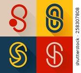 s letter line logo set  vector... | Shutterstock .eps vector #258307808