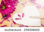 blurry of purple gerbera... | Shutterstock . vector #258308603