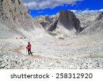 rocky trail descending along... | Shutterstock . vector #258312920