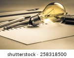 creative writing  light bulb... | Shutterstock . vector #258318500