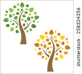 vector tree in 2 versions | Shutterstock .eps vector #258324356