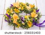 flower wreath on white vintage...   Shutterstock . vector #258331403