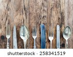 wood background old cutlery... | Shutterstock . vector #258341519