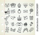 set of simple valentine icon in ... | Shutterstock . vector #258343889