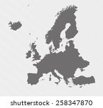 map of europe on gray background | Shutterstock .eps vector #258347870
