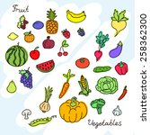 collection of various fruits... | Shutterstock .eps vector #258362300