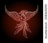 phoenix emblem drawn in tattoo... | Shutterstock .eps vector #258365090