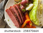homemade corned beef and... | Shutterstock . vector #258370664