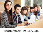 group of students using gadgets ... | Shutterstock . vector #258377336