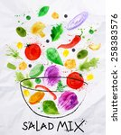 poster salad mix  into a bowl...   Shutterstock .eps vector #258383576