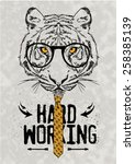 hand drawn tiger with tie | Shutterstock .eps vector #258385139