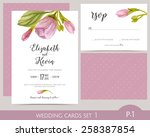 wedding card set with...   Shutterstock .eps vector #258387854