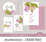 wedding card set with... | Shutterstock .eps vector #258387860