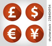 the currency signs of dollar ... | Shutterstock .eps vector #258404954