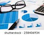 office scene financial graph... | Shutterstock . vector #258406934