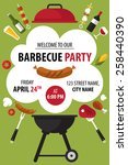 colorful barbecue party... | Shutterstock .eps vector #258440390