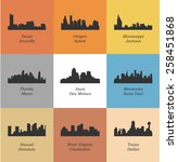 set of 9 city silhouette  miami