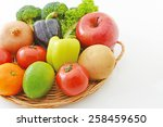 different fresh fruits and... | Shutterstock . vector #258459650