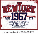 new york varsity tee graphic | Shutterstock .eps vector #258465170