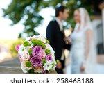 wedding couple and flower... | Shutterstock . vector #258468188