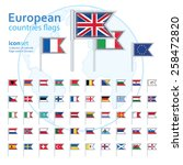 Set Of European Flags  Vector...