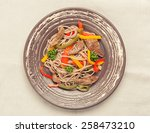 pasta with meat and vegetables... | Shutterstock . vector #258473210