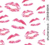 seamless pattern   red lips... | Shutterstock .eps vector #258484844