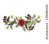 decorative floral watercolor... | Shutterstock .eps vector #258486443