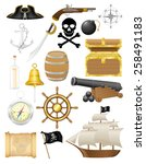 set of pirate icons vector... | Shutterstock .eps vector #258491183