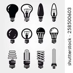 light bulbs set of black icons... | Shutterstock .eps vector #258500603