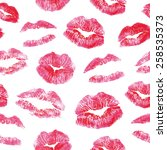 lips prints kisses seamless... | Shutterstock .eps vector #258535373