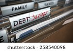 file tab with focus on savings. ... | Shutterstock . vector #258540098