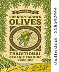 retro olives poster. fully... | Shutterstock .eps vector #258542444