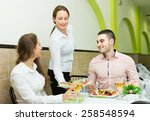 smiling female waiter with... | Shutterstock . vector #258548594