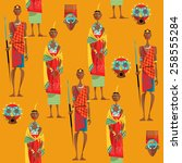 couple of maasai in traditional ... | Shutterstock .eps vector #258555284