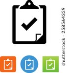 clipboard with check mark icon   Shutterstock .eps vector #258564329