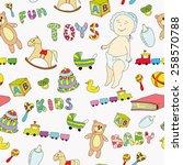 toys pattern white | Shutterstock .eps vector #258570788