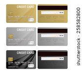 realistic credit cards set  ... | Shutterstock .eps vector #258582800