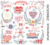 vintage floral wedding set for... | Shutterstock .eps vector #258603140