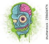 zombie head  zombie head on... | Shutterstock .eps vector #258606974