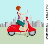 cute young woman on red scooter ... | Shutterstock . vector #258615440