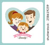 family with daughter. happy... | Shutterstock .eps vector #258619259