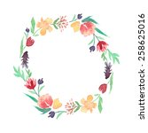 watercolor floral frame of... | Shutterstock .eps vector #258625016