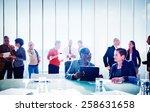 multiethnic group of people... | Shutterstock . vector #258631658