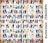 multiethnic casual people... | Shutterstock . vector #258632894