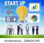 start up launch business ideas... | Shutterstock . vector #258634190