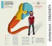 puzzle info graphic design... | Shutterstock .eps vector #258634874