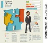 puzzle info graphic design... | Shutterstock .eps vector #258641660