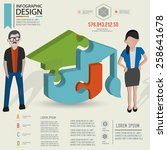 puzzle info graphic design... | Shutterstock .eps vector #258641678